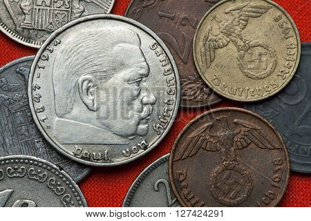 Coins of Nazi Germany. German President Paul von Hindenburg (1847 - 1934) depicted in the German two Reichsmark coin (1939).