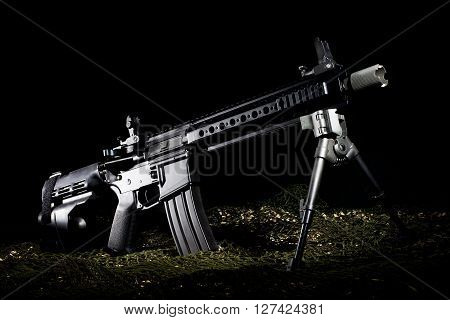 Pistol configuration of the modern sporting rifle on a dark background