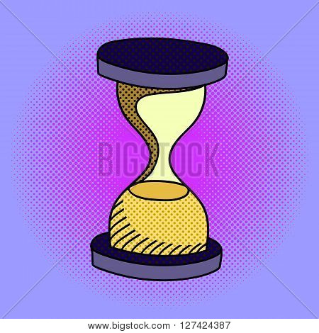 Hourglass pop art design vector illustration. Sandglass separate objects. Time hand drawn doodle design elements.