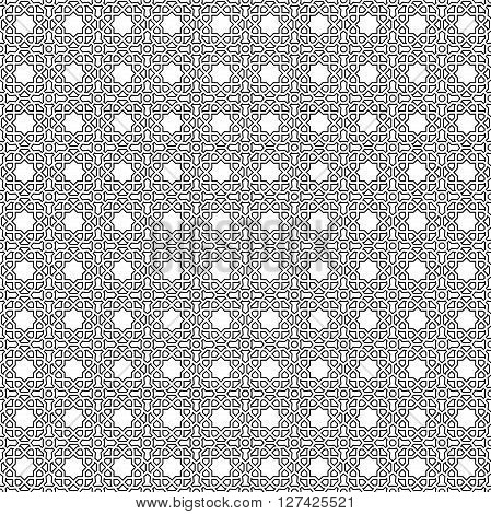 Seamless vector black and white ornament. Modern geometric pattern with repeating elements