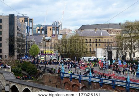 LONDON, UK, APRIL 24, 2016: The London Marathon -  spectators opposite the Tower of London