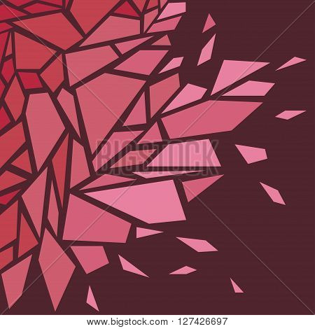 Abstract background. The effect of broken glass. Red