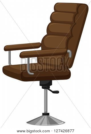 Arm chair with brown leather illustration