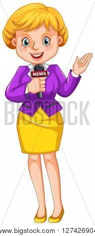 Female reporter reporting news illustration