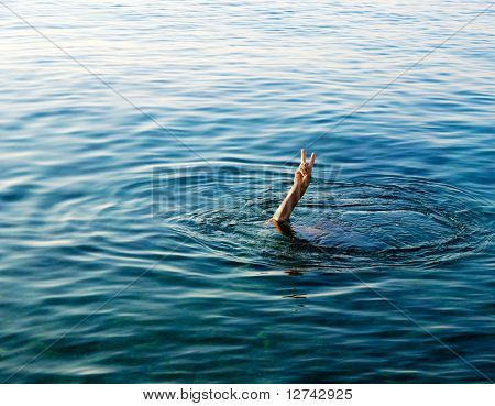 hand of man in sea