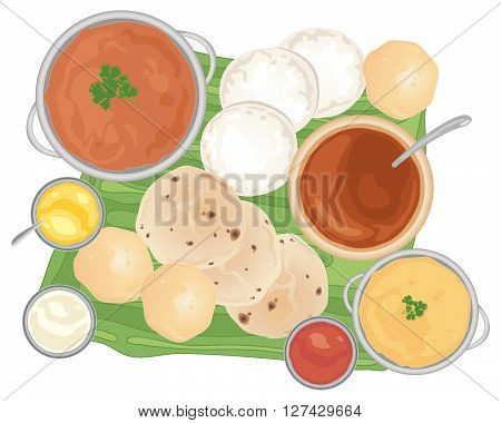 an illustration of a traditional indian meal with curries and breads on a banana leaf and white background