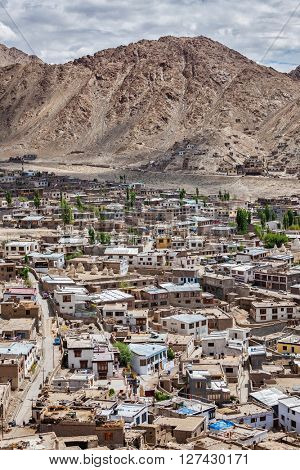 Aerial view of Leh town in Himalayas from above. Ladakh, Jammu and Kashmir, India