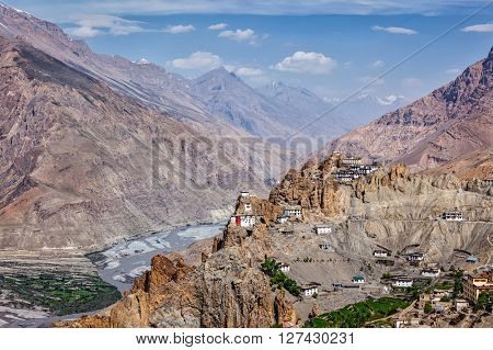 View of Spiti valley, Dhankar village and Dhankar gompa in Himalayas. Spiti valley, Himachal Pradesh, India
