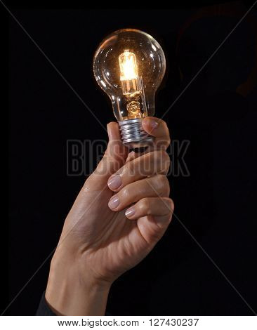 The energy in your hands,Holding a bulb lamp.