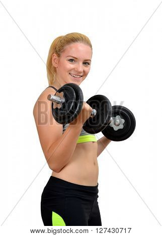 Girl exercise biceps muscles with dumbbells on white background