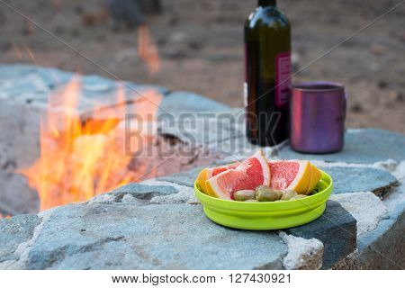 Still life at the evening campfire. Blurred background