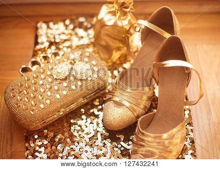 Womens Clothes And Accessories. Golden. Fashion Shoes. Luxury Jewelry. Expensive Pendant Close-up Ba