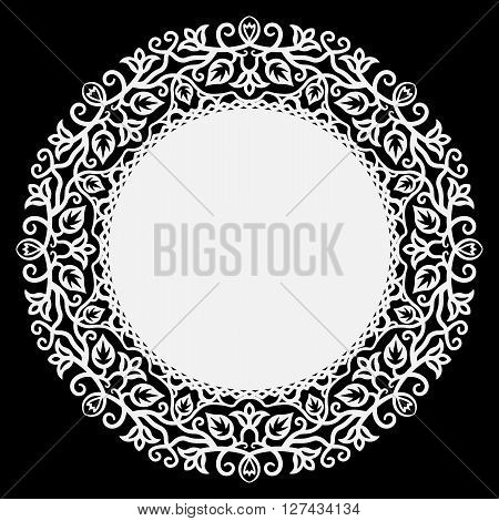 Lace round paper doily lacy snowflake greeting element package vector illustrations