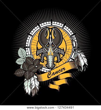 vector illustration zodiac sign cancer emblem vintage frame with feathers on a black background