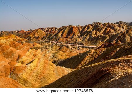 Zhangye Danxia National Geological Park Gansu Province China Danxia landform is formed from red-coloured sandstones and conglomerates of largely Cretaceous age.