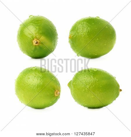 Lime green fruit covered with the multiple water drops, isolated over the white background, set of different foreshortenings