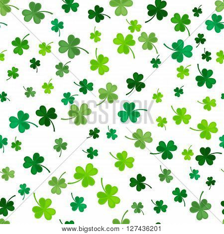 St Patricks Day Clover seamless pattern. illustration for lucky spring design with shamrock. Green clover isolated on white background. Ireland symbol pattern. Irish decor for web site.