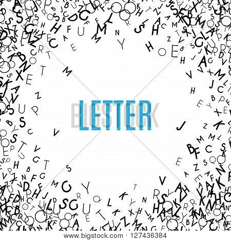Abstract black alphabet ornament frame isolated on white background. illustration for education writing design. Random letters flying around. Alphabet book concept for grammar school
