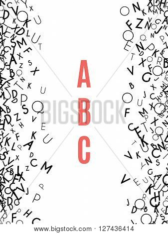 Alphabet Frame isolated on white background. Copy space for education, literacy, back to school announcements, posters, stationery, scrapbooks, albums. Mix of letters. Latin ABC. Literacy.