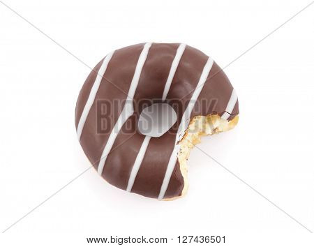 Bitten chocolate donut isolated on white with clipping path