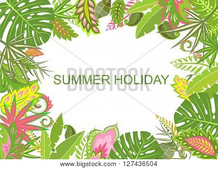 Summer tropical background with exotic leaves