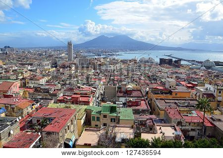 landscape with Naples city and Vesuvius volcano in centre of background