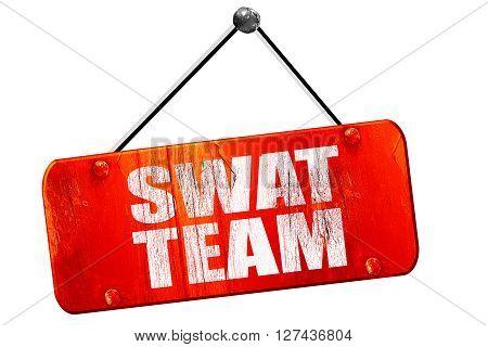 swat team, 3D rendering, red grunge vintage sign