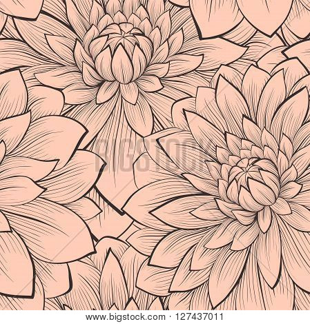 Beautiful seamless pattern with blooming dahlias closeup. Vintage color. Hand-drawn contour lines and strokes. Perfect for background greeting cards and invitations to the day of the wedding birthday and Valentine's Day