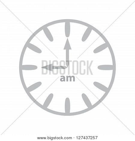 Grey clock showing 9 o'clock in the morning
