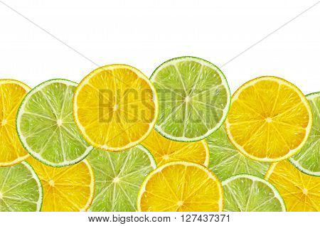 juicy lemon and lime slice isolated on white background