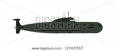 Isolated military submarine old army sea ship transport vector illustration.