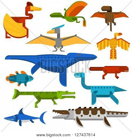 Sea and flying dinosaurs jungle forest wildlife animal vector illustration