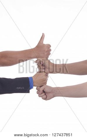 Clenched hands of people on each other to win at the end on white background.