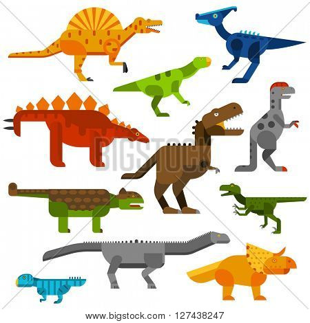 Cretaceous dinosaurs ground cartoon vector illustration.