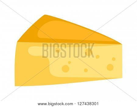 Cheddar cheese slice on white background