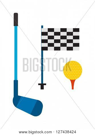 Set of golf club tee and ball sport leisure equipment isolated vector illustration