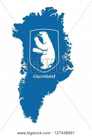 greenland vector map with coat of arms
