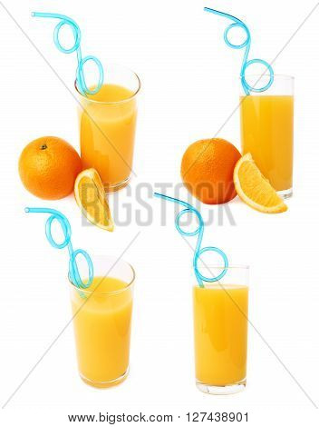 Tall glass filled with the orange juice with curved blue plastic drinking straw inside and fruits, composition isolated over the white background, set of different foreshortenings