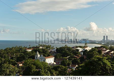 The beautiful city of Olinda and Recife on the background, Brazil