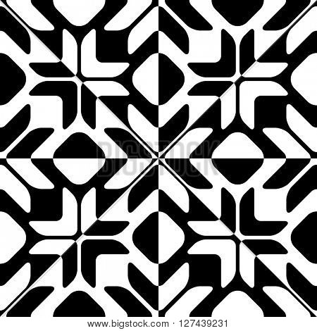 Seamless Star Pattern. Vector Black and White Background. Regular Texture