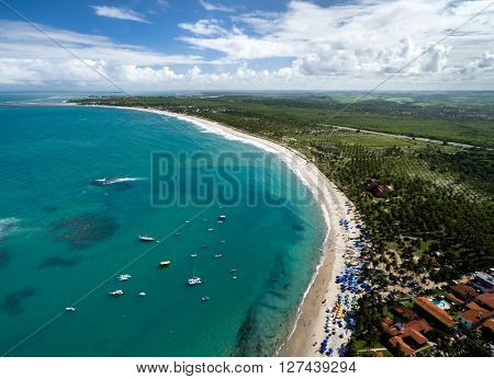 Aerial view of Maracaipe beach in Porto de Galinhas, Pernambuco, Brazil