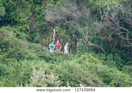 STORMS RIVER MOUTH SOUTH AFRICA - MARCH 1 2016: Unidentified tourists on the trail from the restaurant to the suspension bridge over the Storms River
