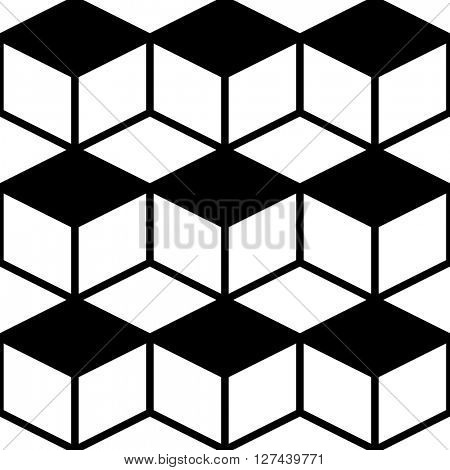 Seamless Cube Pattern. Abstract Monochrome Background. Vector Regular Texture