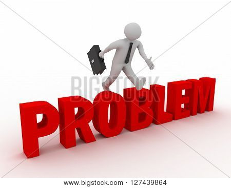 3D Businessman Jumping Over 'problem' Word With White Background