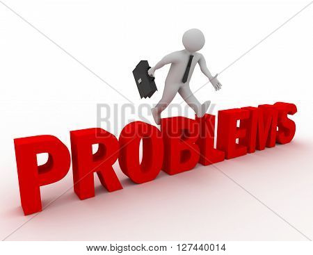 3D Businessman Jumping Over 'problems' Word With White Background