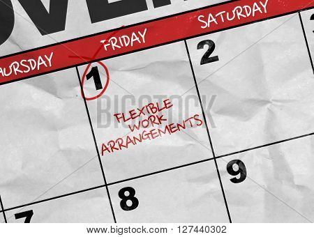 Concept image of a Calendar with the text: Flexible Work Arrangements