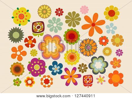 Vector illustration of the flowers design and colors during the seventies