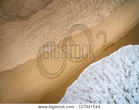 CO2 written on the beach