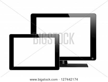 Black computer monitor and tablet with empty screen isolated on white background