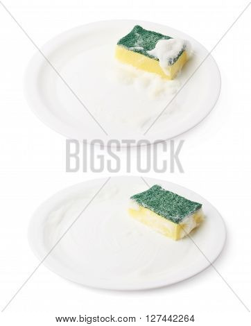 Foam covered dish washing kitchen sponge over the surface of the white ceramic plate, composition isolated over the white background, set of two different foreshortenings